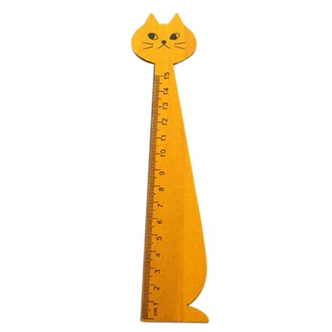 Cat Wood Ruler Black kawaii cat animal stationery wood ruler sewing