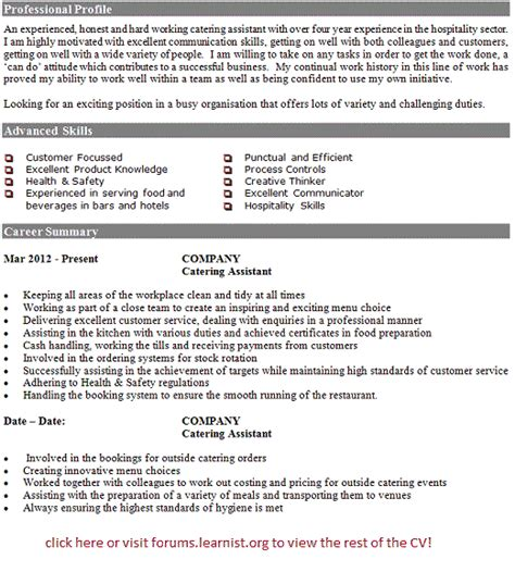 cv template kitchen assistant catering assistant cv exle forums learnist org