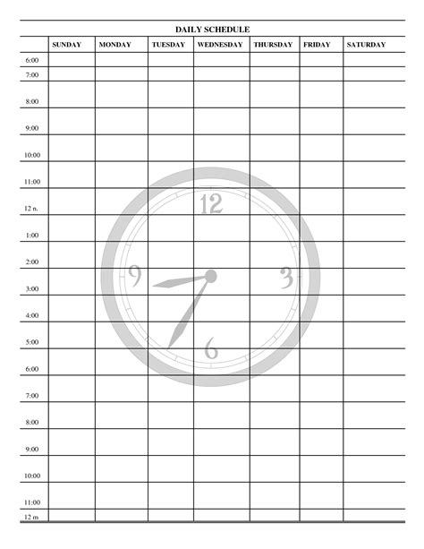printable schedule template daily 6 best images of free printable blank daily schedule