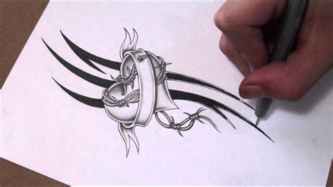 barbed wire heart tattoo designs shading a and banner with barbed wire design