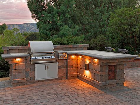 Backyard Bbq Built In Paver Patio Ideas Patio With Bbq Lighting Built In