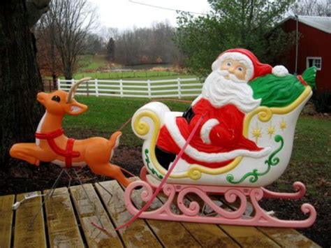 big santa claus sleigh reindeer lighted plastic outdoor