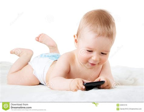 www baby baby holding a phone stock photo image 56997279