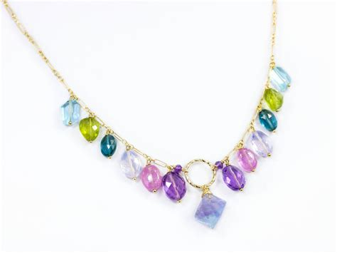 Gemstone Necklace multi gemstone drop necklace in gold filled precious