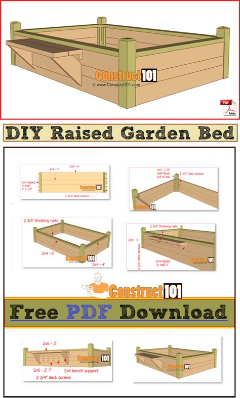 raised garden bed plans free raised garden bed with bench pdf download construct101