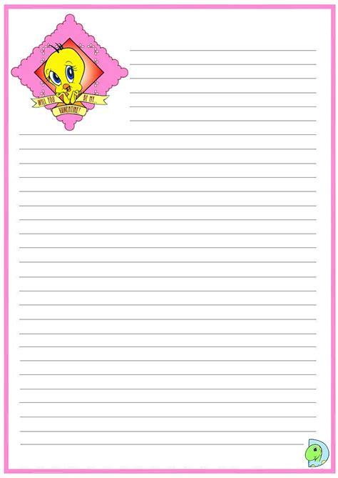 tweety writing paper tweety handwriting paper dinokids org