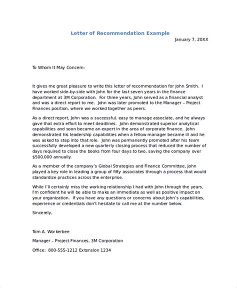 letter of recommendation templates sle recommendation letters 8 exles in pdf word