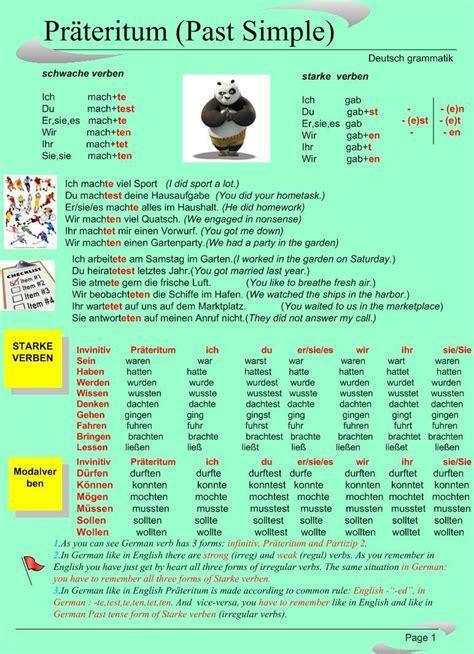 aleman simple past simple german learns aprender alem 225 n