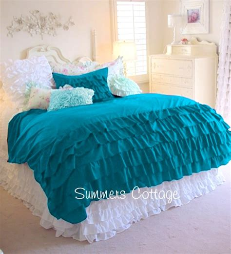 teal ruffle bedding aqua teal turquoise ruffled duvet comforter cover set