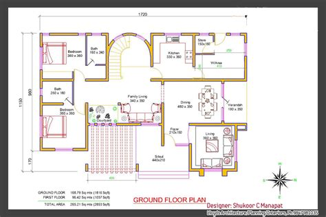Plan For 4 Bedroom House In Kerala by Kerala Villa Elevation And Plan At 2853 Sq Ft