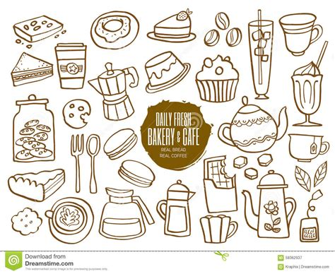 doodle cafe bakery cafe coffee drinks doodles stock vector