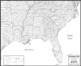 southeast usa map to print