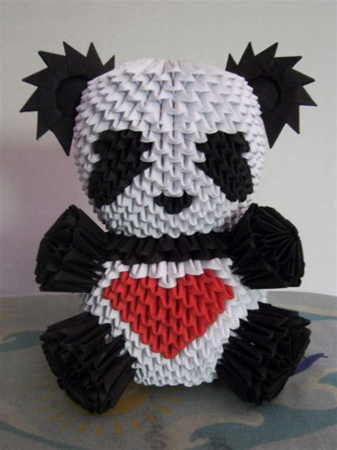 How To Make A 3d Origami Panda - 3d origami panda again by onelonetree on deviantart