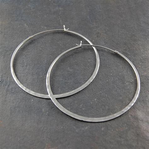 Sterling Silver Hoop Earring battered sterling silver large hoop earrings by otis jaxon