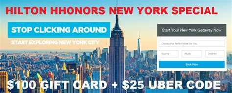 Hilton Hhonors Gift Card Rewards - hilton hhonors new york 100 gift card 25 uber credit for stays july 1 march 31