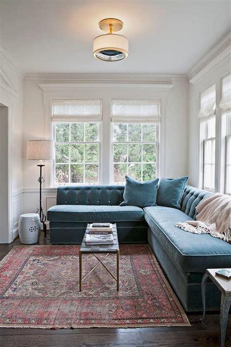 carpet couch blue velvet sectional design ideas