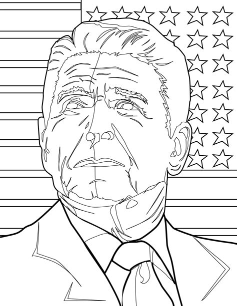 ronald reagan coloring page handipoints
