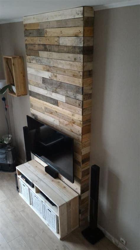Pallet Wall Fireplace by Wall From Pallet Wood Mur En Bois De Palettes Pallet