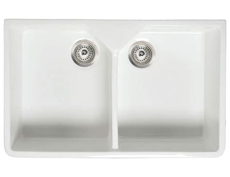 porcelain undermount double bowl kitchen rak gourmet 10 belfast twin bowl fireclay over or
