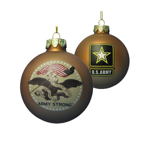kurt adler 80 mm u s army gold glass ball ornament