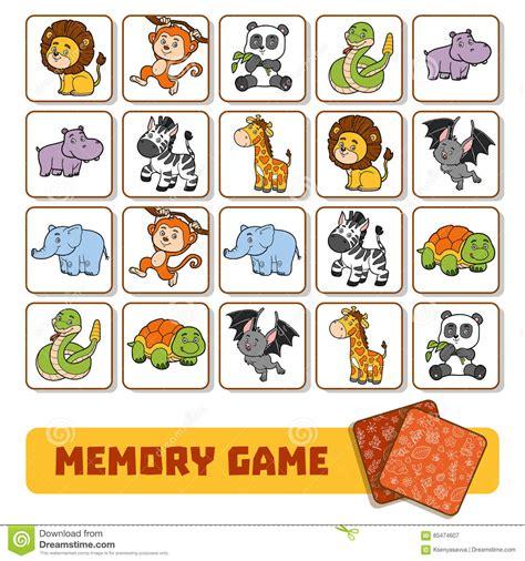 Puzzle Tombol Tranport minneslek f 246 r barn kort med zoodjur vektor illustrationer
