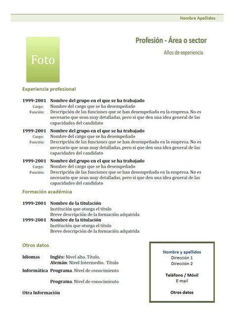 Exemple De Lettre Qui Accompagne Un Cv exemple de cv cr 243 nologico en espagnol 1 vert