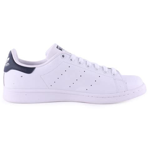 all shoes adidas stan smith mens leather white navy trainers new