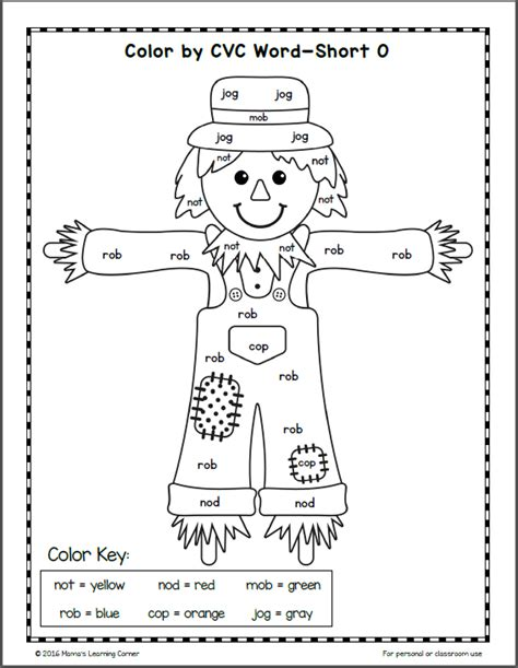 Cvc Words Worksheets by Fall Color By Cvc Word Worksheets Mamas Learning Corner