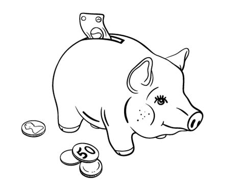 Free Piggy Bank Coloring Page Piggy Bank Coloring Page