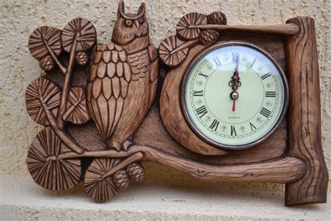 Handmade Clocks Wood - handmade wood decor wall clock wood gift owl 5th by
