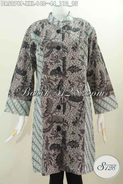 Sarimbit Batik Jumbo L Xl Dress Terusan Wanita Davina Salur pakaian dress batik 3l busana batik terusan kerah paspol