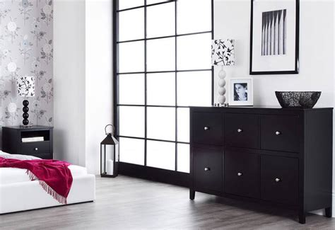 statement furniture brooklyn bedroom range black painted matt finish set   bedside