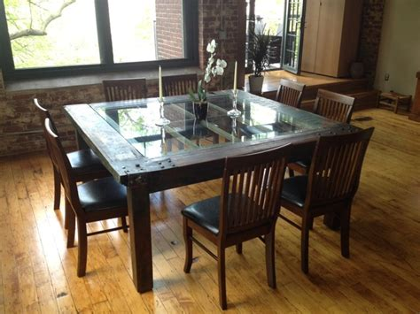 Dining Table In Front Of Doors Salvaged Mill Door Table Dining Tables Providence By
