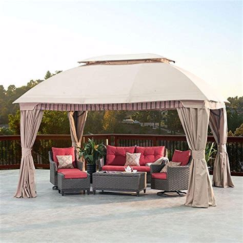 Gazebo With Privacy Curtains Suburban 10 Ft X 13 Ft Gazebo With Length Mosquito Netting And Privacy Curtains Gazebos