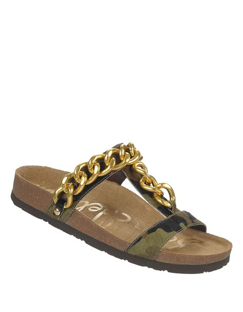 camouflage sandals sam edelman camouflage print calf hair sandals in green lyst