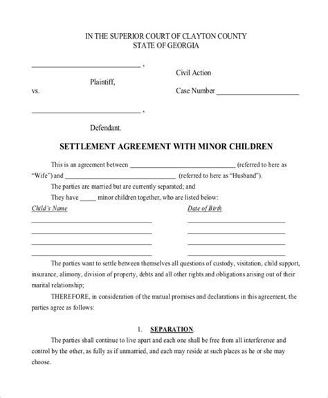 Child Support Agreement Letter Sle Free Child Support Agreement Template 6 Free Word Pdf