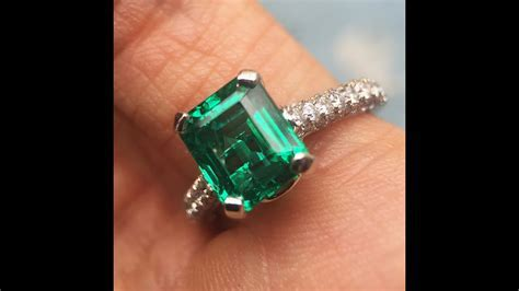 Vivid Green Emerald & Diamond Engagement Ring   Best