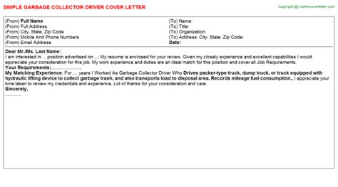 Waste Collector Cover Letter by Garbage Collector Driver Cover Letter Sle