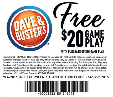 dave and busters printable food coupons dave busters new york mobile friendly free play coupons