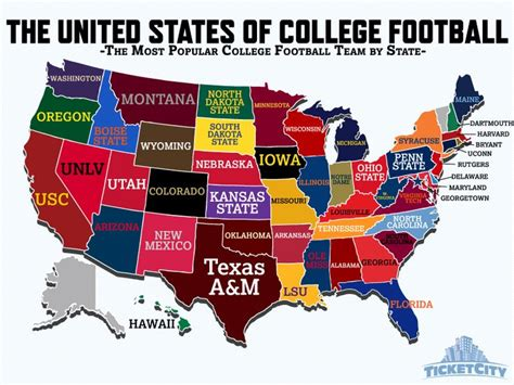 map of colleges in united states the united states of college football the most popular