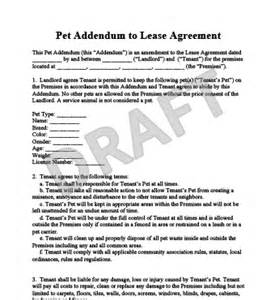 Lease Letter Pet Pet Addendum To A Lease Agreement Templates