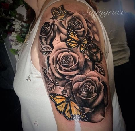 rose tattoo sleeve designs roses and butterfly s my ideas