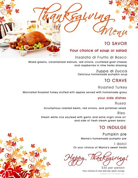 187 2013 thanksgiving menu copy mama s meatball events promotions