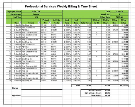 Excel Billing Timesheet Templates For Professional Services Projects Tool Store Professional Professional Services Template