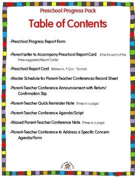 Preschool Reporting To Parents Pack Parent Teacher Conferences Report Cards Parent Meeting Agenda Template
