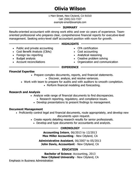 accountant resume template staff accountant resume exles free to try today