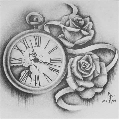 pocket watch and rose tattoo design pocketwatch and roses by mmpninja on deviantart things i