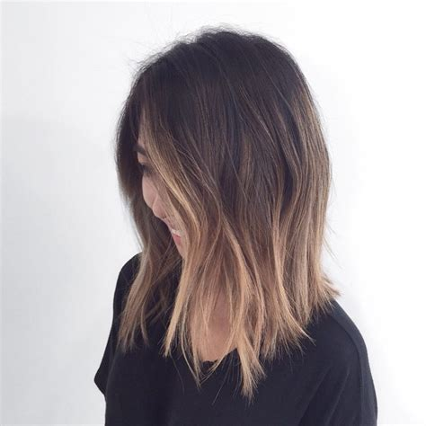 a line with subtle balyage highlights hair balyage color and length hair pinterest haircolor a line