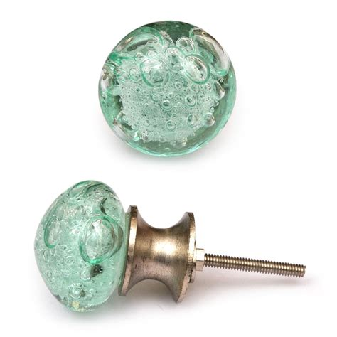sea glass cabinet pulls potteryville aqua light sea green glass round knob with