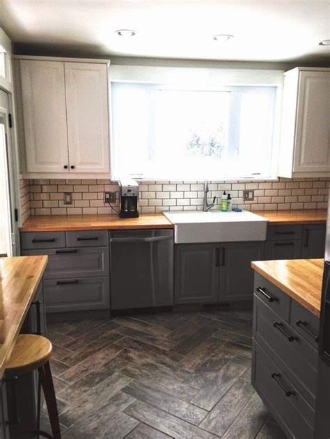 gray base cabinets with white countertops before after quot single wide quot kitchen opens up base